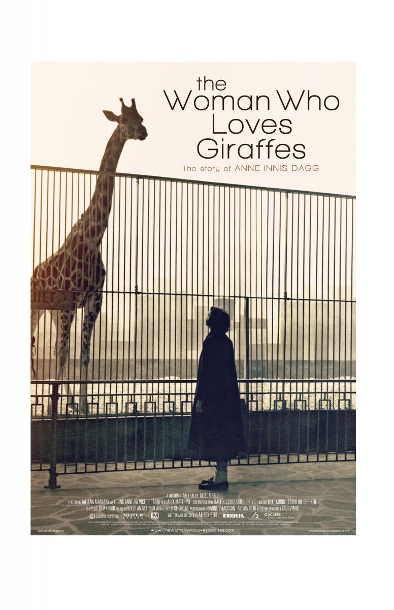 film poster, young woman looks up at giraffe in a zoo