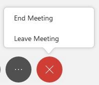 End or Leave Meeting options within the red x