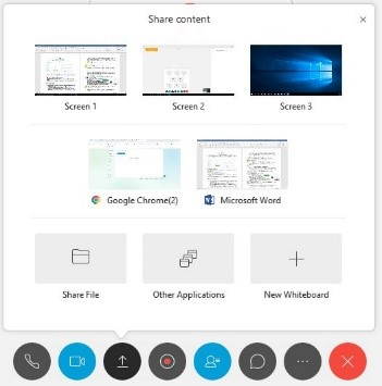 Share content options within the Share Content button