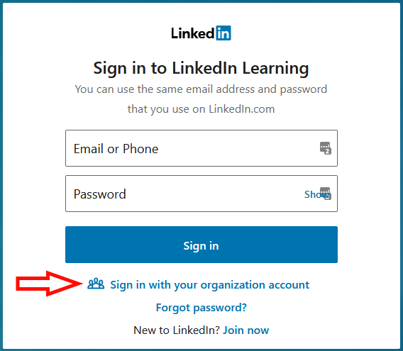 "LinkedIn Learning sign-in panel. An arrow points to the ""Sign in with your organization account"" link"