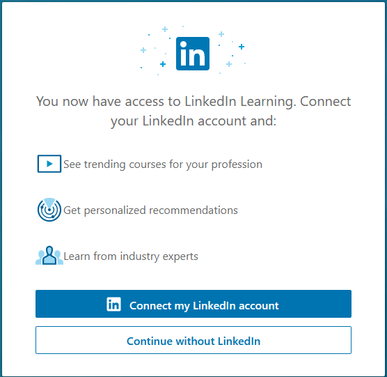 Web form asking user if they want to connect LinkedIn and LinkedIn Learning accounts.