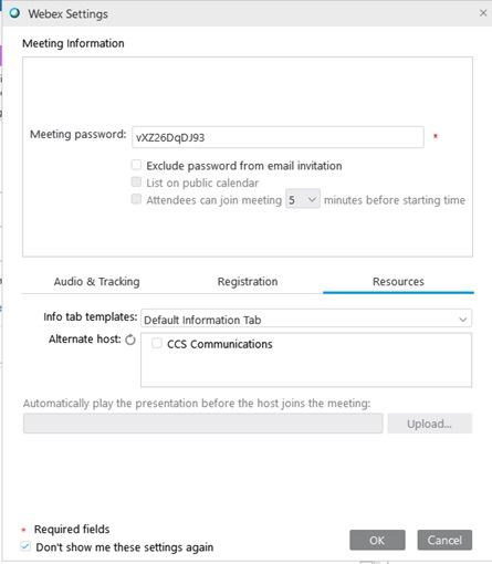 Webex settings window for Outlook. Resources tab is selected, giving options to mark attendees as alternate hosts.
