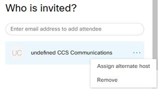 """Attendee menu option expanded. Options are """"Assign alternate host"""" and """"Remove""""."""