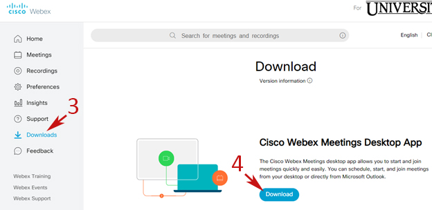 Webex browser interface. First arrow points to Downloads menu option, second to Download button.