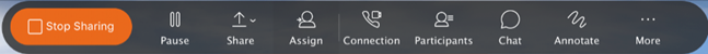 Grey Share bar image that tells you which screen or application you are sharing