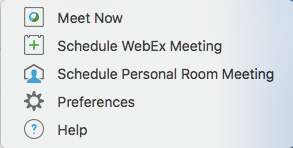 Options in the Webex icon within Outlook