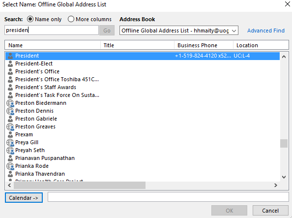 Find name of calendar owner in global address list