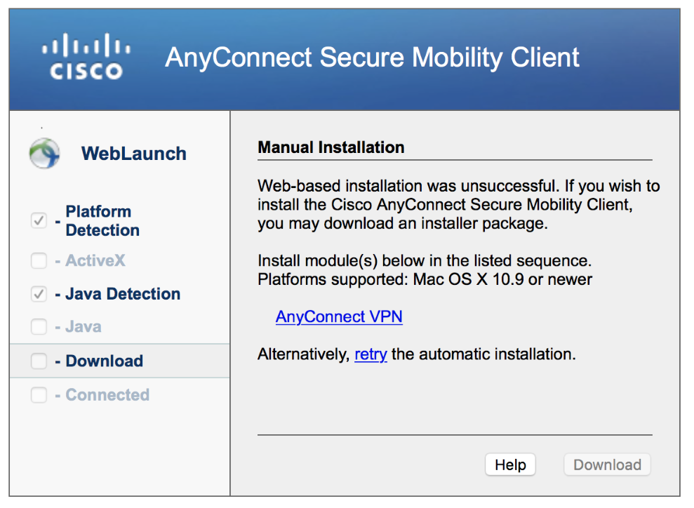Cisco AnyConnect Secure Mobility Client Manual Installation Window for AnyConnect version 4.5.03040 Mac Install