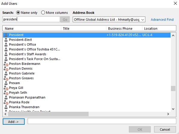 Select Delegate name from Offline Global Address List