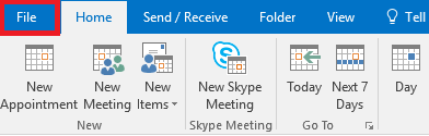 Click File from Outlook