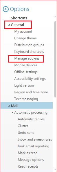 Image of where to find Manage Add-ins
