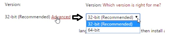 Visualization of the how to select 32 or 64 bit version