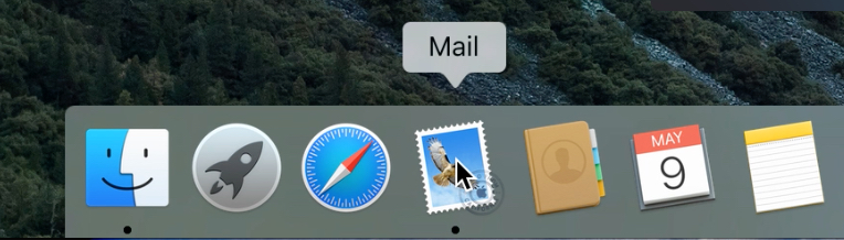Visualization of the Mail icon being selected from the dock.