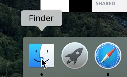 Visualization of opening the Finder feature