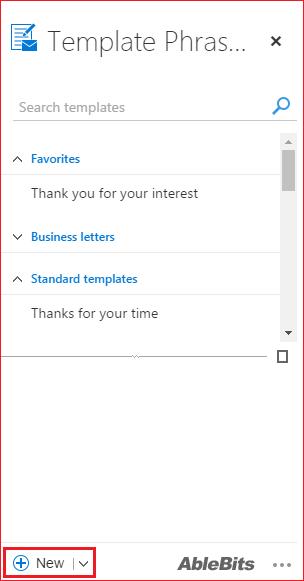 template phrases window