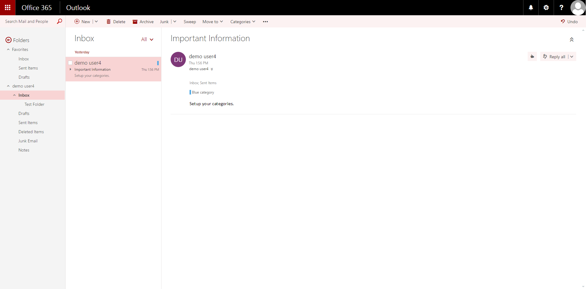 Visualization of the Layout of the Mail Screen in the Outlook Web App