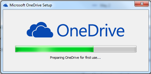 Visualization of OneDrive downloading screen