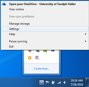 Visualization of the menu that pops up when you right click the OneDrive icon