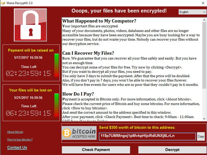 WannaCry Ransomware Screen Capture