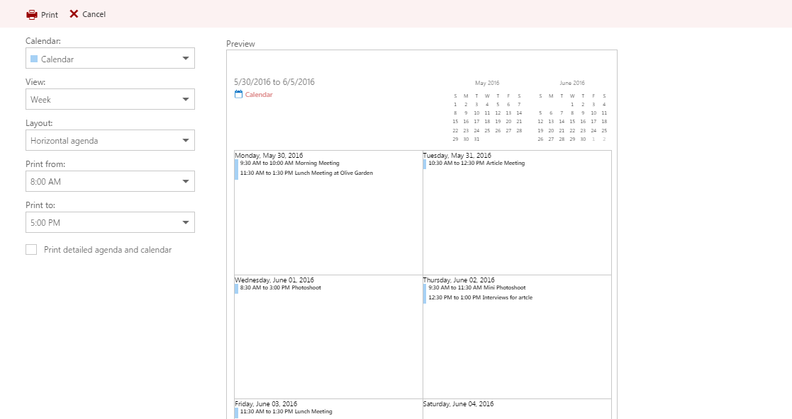 Visualization of print preview window
