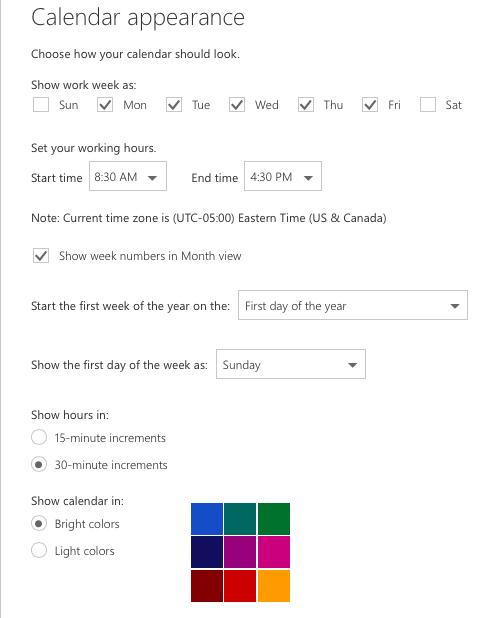 Visualization of calendar appearance settings