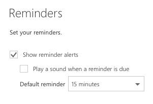 Visualization of calendar reminders settings
