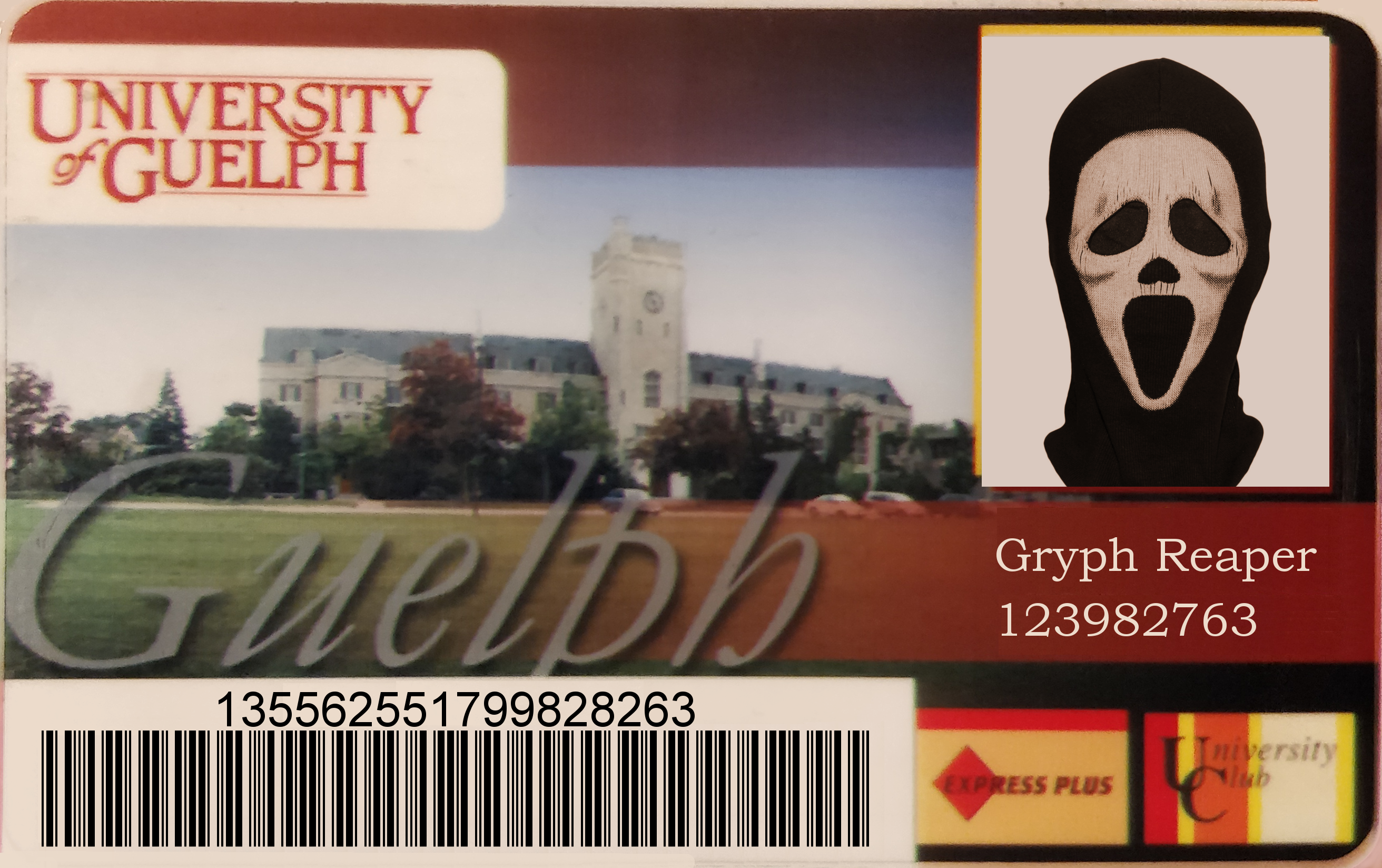 GryphReaper impersonation on University of Guelph ID card