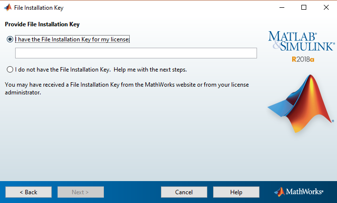 File Installation Key entry