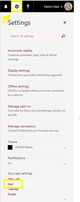 Microsoft Outlook Web Application (OWA)Settings Menu