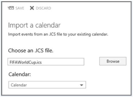 Visualization of importing a .ics calendar