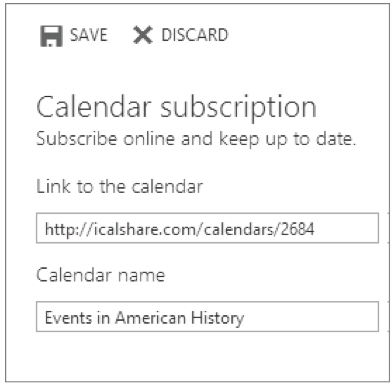 """Visualization of adding a """"link to the calendar"""" window"""