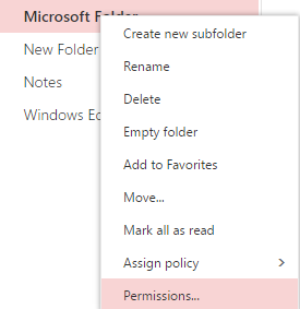 Right click email folder and select permissions