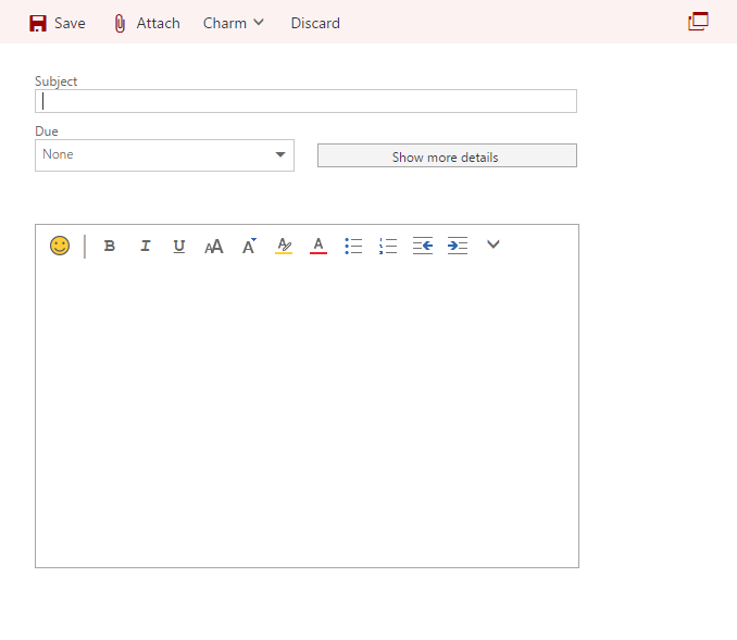 Visualization of new task window