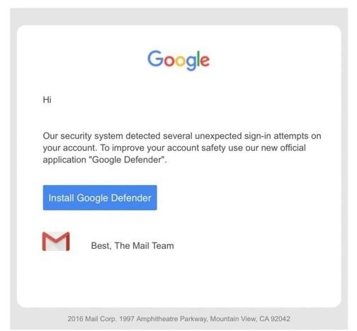 Screenshot of application install