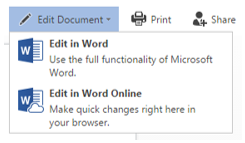"""Visualization of options to """"Edit Document"""" online or in desktop"""