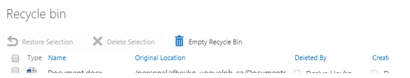 Visualization of Recycle Bin