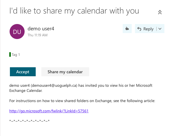 Visualization of email invitation to calendar