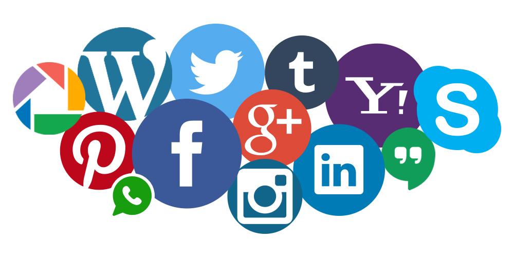 social media symbol mosiac