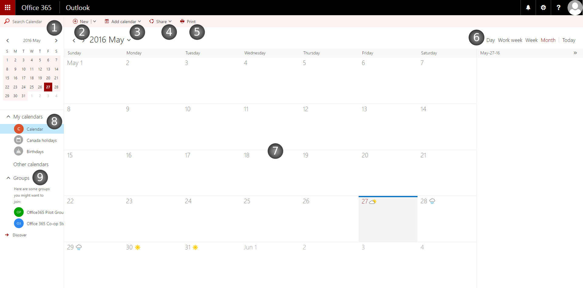 Layout of the Calendar App in the Outlook Web App