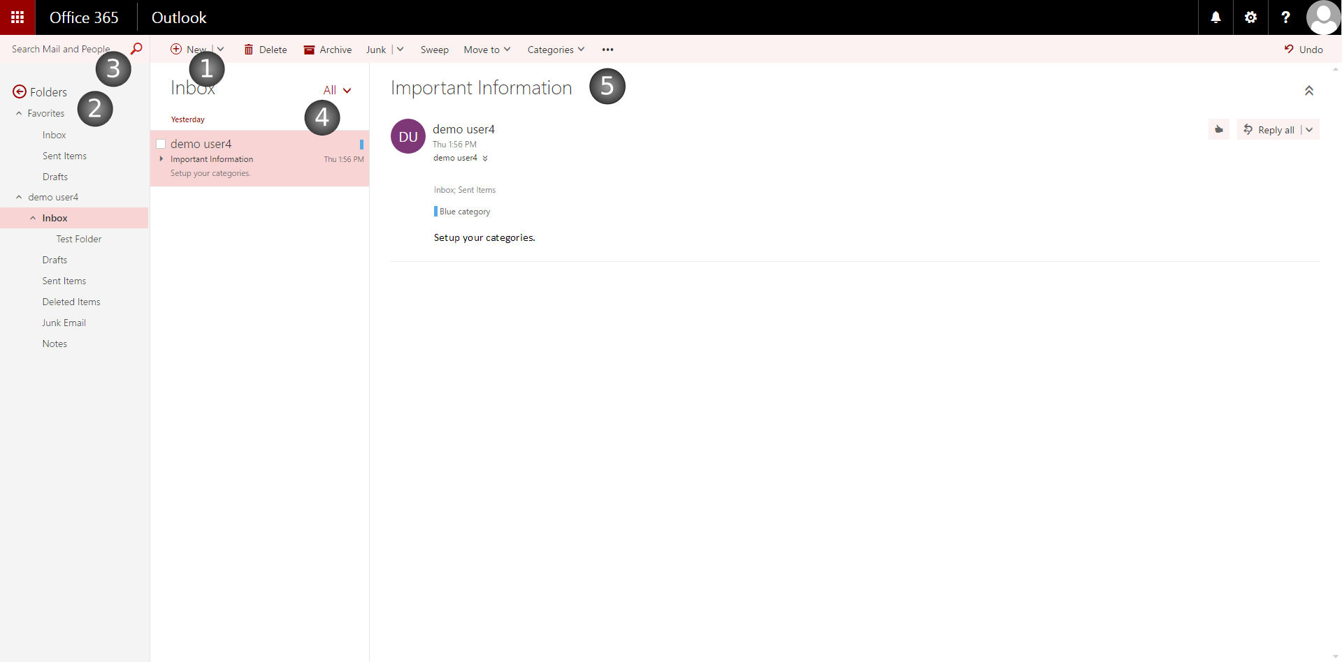 Layout of the Mail Screen in the Outlook Web App