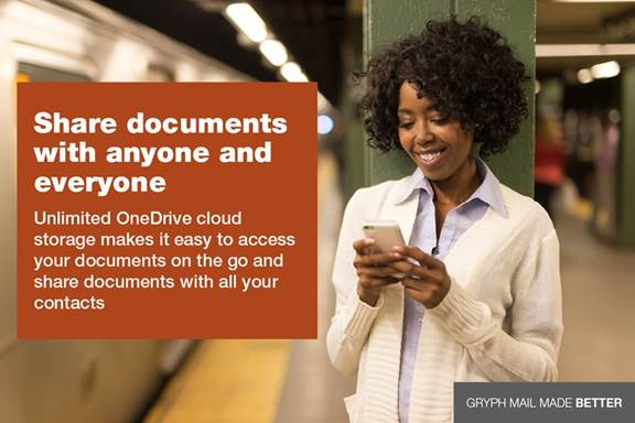 Share documents with anyone and everyone. Unlimited OneDrive cloud storage makes it easy to access your documents on the go and share documents with all your contacts