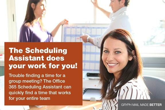 The Scheduling Assistant does your work for you! Trouble finding a time for a group meeting? The Office 365 Scheduling Assistant can quickly find a time that works for your entire team.