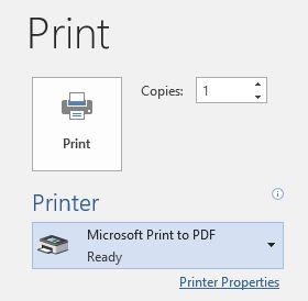 Microsoft O365 Print to PDF