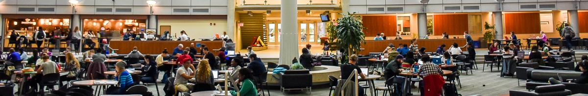 Students sitting in Summerlea Science Complex Atrium