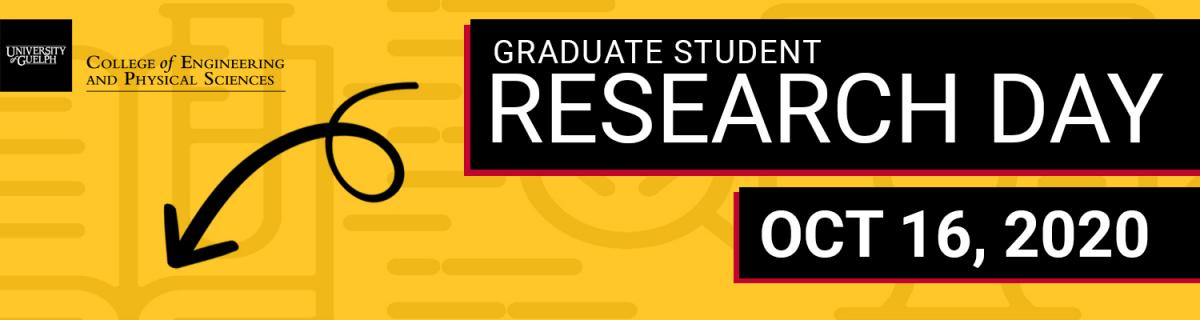 Graduate student research day promo banner with CEPS logo and arrow pointing down