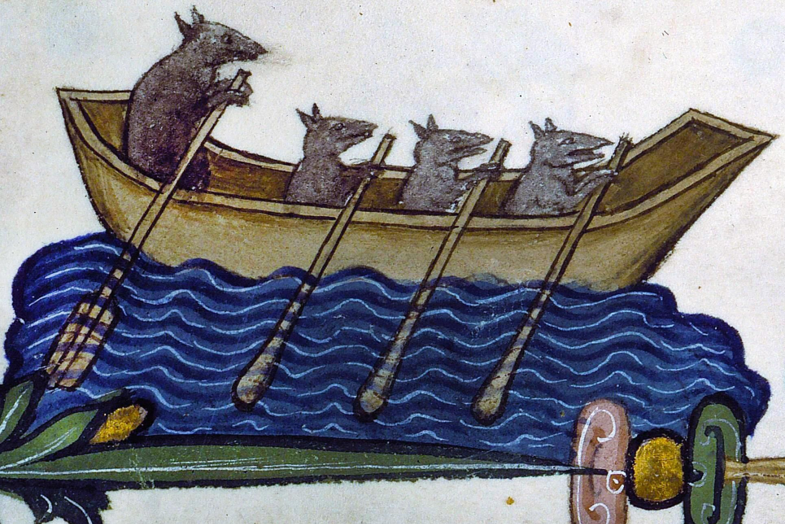 Historical artwork of four rates in a boat