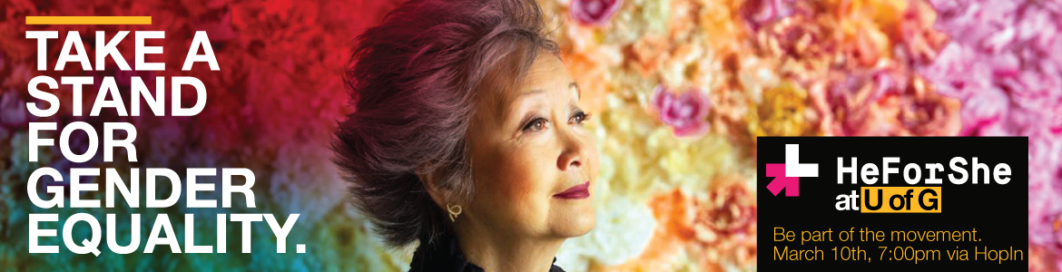 "Promotional banner for HeForShe celebration with text ""take a stand for gender equality"" and image of Adrienne Clarkson"