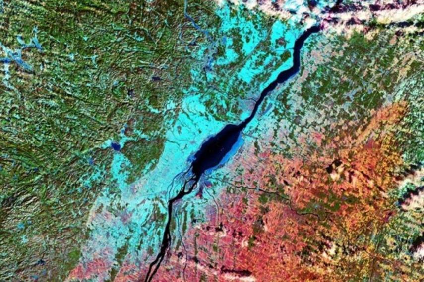 Satellite image showing Quebec.