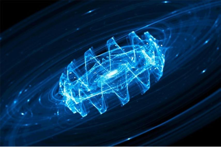 Image showing gravitational waves in space. Blue, wavy lines in a circular configuration against a black background.