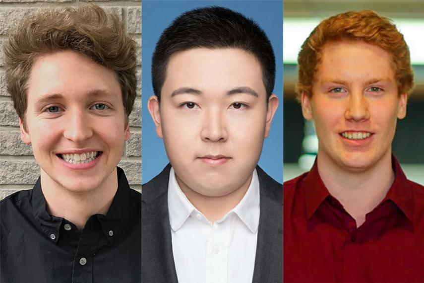 Series of scholarship recipients' headshots in a row